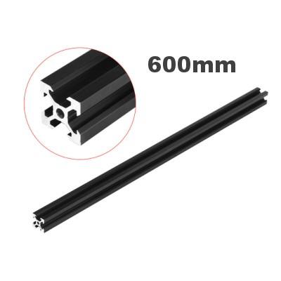 rail profilé noir  v-slot 2020 aluminium  20mm x 20mm x 600mm