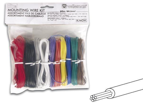 assortiment fils de cablage - 10 couleurs - 60m - ame multibrins