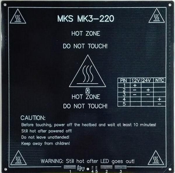 lit chauffant mk3-220 alu 220mm x 220mm x 3mm 12v/24v 110°c