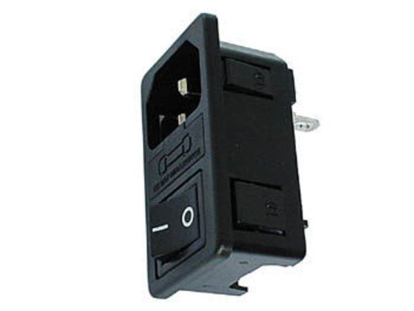 embase male clipsable pour chassis - avec interrupteur & porte-fusible