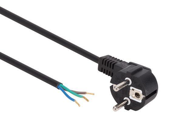 câble d'alimentation noir cee 7/7 90 + extrémités l=1.5 m h05vv-f 3g0.75 mm²